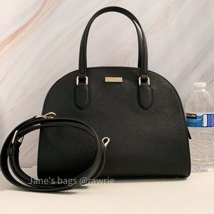 New Kate Spade Black Leather Reiley Dome Satchel